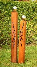 Rost Gartendeko Rostsäulen 150cm + 125cm mit Risse Glanz Kugeln