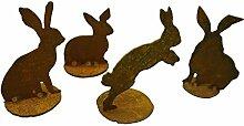 Rost Hasen 4er Set - 4 Stück Edelrost Hase als Gartendeko oder Wohndeko geeigne