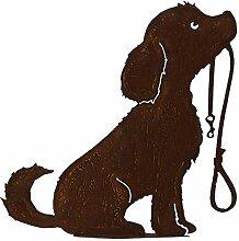 Rost - Hund mit Leine - Höhe: 50cm - Auf Platte &