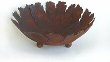 Rost Schale rund mit Rissen 45 cm Deko Dekoration