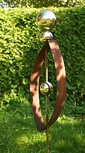 Rost Skulptur Modern 2017 Gartendeko Rost Stecker mit 3 Edelstahlkugeln