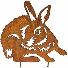 Rostalgie Edelrost Kaninchen Karli auf Stab 30 x