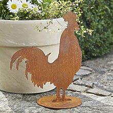 Rostige Gartenfigur - Großer Hahn auf Platte