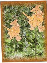 Rostige Hexe auf Stab Edelrostdeko Herbst DE6165R