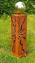 Rostsäulen 60cm schöne Gartendeko Skulptur mit Edelstahlkugel