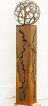 Rostsäulen Fackel 125cm mit Muster Gartenkugel