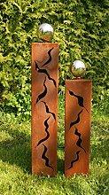Rostsäulen Gartendeko Dreiecke mit Muster 60 +80 cm