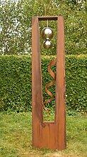 Rostsäulen Gartendeko Säule mit Edelstahlkugel und Spirale Sinfonie