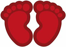 (Rot) 10 Stück Fußbodenaufkleber Kinderfüße