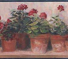 Rot Blumen in Töpfen auf Bench beige floral