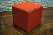 Rot Echtleder Hocker 40x40x40cm Sitzhocker