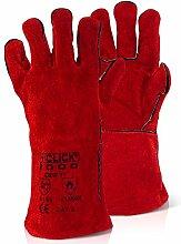Rot Gauntlet Leder Fire Handschuhe komplett