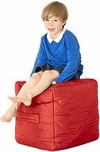 Rot, gesteppte, wasserabweisende Cube Sitzsack