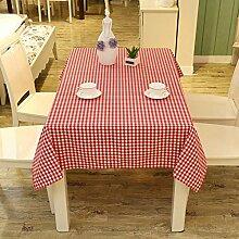 rot gitter Tischdecke Leinen baumwolle dekoration Hotel Couchtisch Esstisch Geschirr Staub Tuch , B , 140*250cm