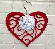 Rot Herz Kleiderbügel für Schals, Gürtel, Krawatten etc., Kleiderschrank Veranstalter
