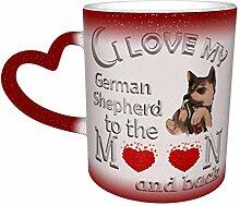 Rot Ich liebe Deutsche Schäferhund Farbe ändern