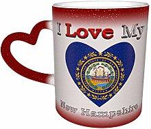 Rot Ich liebe meine Flagge von New Hampshire Herz