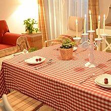 Rot karierten tischdecken,Landschaft einfach modern tisch decken tischdecken rechteck für esstisch küche picknick tv schrank schreibtisch-A 90x90cm(35x35inch)