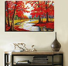 Rot Moderne Baum Malerei Leinwand Rahmenlose