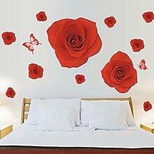 Rot Rose Blumen Schmetterlinge Wandtattoo House Aufkleber abnehmbarer Wohnzimmer Tapete Schlafzimmer Küche Art Bild Wandmalereien Sticks PVC Fenster Tür Dekoration + 3D Frosch Auto Aufkleber Geschenk