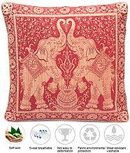 Rot Seide Kissenbezug mit Elefanten Design und