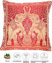 Rot Seide Kissenbezug mit Elefanten Design |