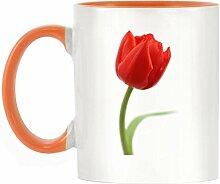 Rot Tulpe Bild Design zweifarbige Becher mit orangefarbenen Griff & Innen