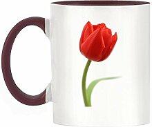 Rot Tulpe Bild Design zweifarbige Becher mit Weinrot Griff & Innen