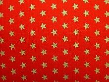 Rot und Gold Funky Sterne Weihnachten Stoff–Vorhang Quilting Patchwork Polster Tischdecke Meterware