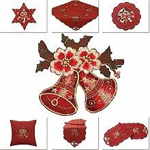 Rot Weihnachten Tischdecke Läufer Tischläufer Leinen-Optik Blume und Glocke Stickerei (ca. 40x110 cm Oval)