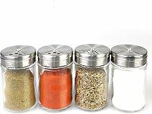 Rotary Glas Menage Gewürz-Flaschen versiegelt Grill-Pulver bestreuen Shaker Export einstellbar Spice Jar Edelstahl-Abdeckung gewürzt-Topf sichtbar Glas Küchenbedarf