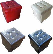Rotbraun gepolsterte Sitzkiste, Sitzhocker, Zauber-Hocker Sitzwürfel Aufbewahrungsbox zusammenklappbar Fußbank