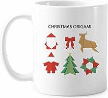 Rote abstrakte Weihnachtstasse, Origami-Muster,