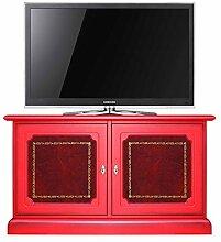 Rote Anrichte mit 2 Ledertüren B106 x H60 x T40