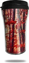 Rote Blätter Wald Glas Kaffeebecher Travel Mug