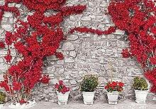 Rote Blumen Steinmauer Fototapete Fototapete Vlies