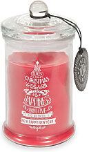 Rote Bonbonniere-Weihnachtskerze im Glasgefäß
