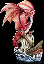 Rote Drachenfigur reißt Schiff mit sich - Drachen