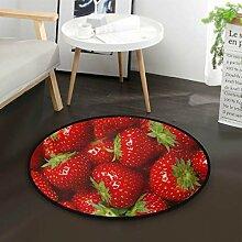 Rote Erdbeerfrucht Runde Teppich für Wohnzimmer