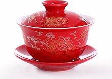Rote Keramik Porzellan Tee Schüssel, Handgemalte