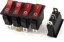 Rote Lampe SPST ON-OFF Rocker Kippschalter AC 250V