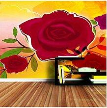 rote Rose Tapete für Wohnzimmer in 3d