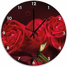 Rote Rosen, Wanduhr Durchmesser 48cm mit schwarzen spitzen Zeigern und Ziffernblatt, Dekoartikel, Designuhr, Aluverbund sehr schön für Wohnzimmer, Kinderzimmer, Arbeitszimmer