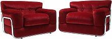 Rote Samt Sessel mit Chrom Rohrgestell, 1970er,