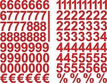 Rote Zahlen Aufkleber 3cm Hoch - 117 KLEBEZAHLEN -