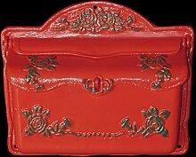 Roter Briefkasten grünes Rosenmotiv Postkasten im antiken Landhaus Stil Eisen
