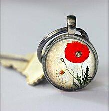 Roter Mohnblumen-Schlüsselanhänger mit rotem