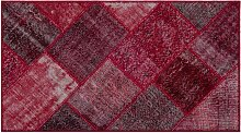 Roter Patchwork Teppich, 1960er