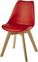 Roter skandinavischer Stuhl mit massiver Eiche Ice