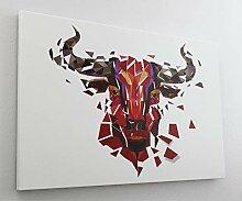 Roter Stier Scherbe Leinwand Canvas Bild Wandbild
